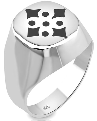 Men's Sterling Silver .925 Ring with Black Enamel Diamond and Circle Design