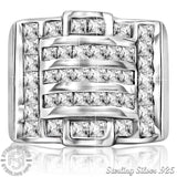 Men's Sterling Silver .925 Ring Featuring 40 Cubic Zirconia (CZ) Channel Set Stones, Platinum Plated