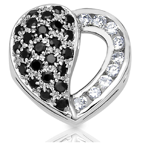 Mother's Day Gift Women's Sterling Silver .925 Puffed, Open Heart, Pendant Slider with Black and White Round Cubic Zirconia (CZ) Stones, Platinum Plated