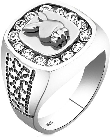 Men's Sterling Silver .925 Ring Featuring a Bunny Head Surrounded by Fancy Channel-Set Cubic Zirconia (CZ) Stones