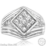 Men's Sterling Silver .925 Ribbed Ring Featuring a Princess-Cut Invisible Look Cubic Zirconia (CZ) Stone, Platinum Plated. By Sterling Manufacturers