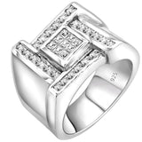 Men's Sterling Silver .925 Designer Ring with Invisible and Channel Set Princess Cut Cubic Zirconia (CZ) Stones, Platinum Plated. By Sterling Manufacturers
