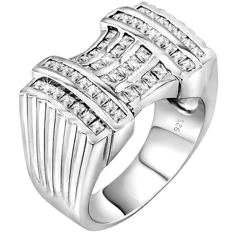 Men's Sterling Silver .925 Ring Featuring 52 Baguette Cubic Zirconia (CZ) Stones, Platinum Plated. By Sterling Manufacturers