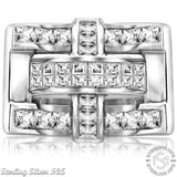 Men's Sterling Silver .925 Criss Cross Ring Featuring 22 Cubic Zirconia (CZ) Stones, Platinum Plated.