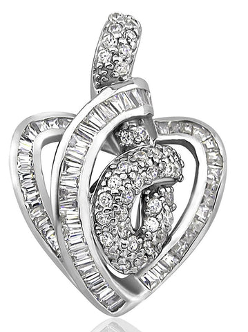 Mother's Day Gift Women's Sterling Silver .925 Open Heart Pendant Slider with Round and Baguette Channel-Set Cubic Zirconia (CZ) Stones, High Polish. By Sterling Manufacturers