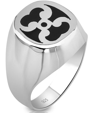 Men's Sterling Silver .925 Ring with Black Enamel Inlay Design