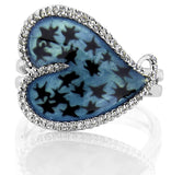 "Mother's Day Gift ""Stary Heart"" Women's Sterling Silver .925 Teal Ring with 58 Prong-Set Cubic Zirconia (CZ) Stones"