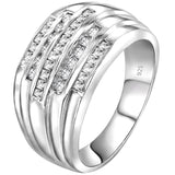 Men's Sterling Silver .925 Ring Band with 5 rows of Cubic Zirconia (CZ) Stones, Platinum Plated. Sizes 6, 7. By Sterling Manufacturers