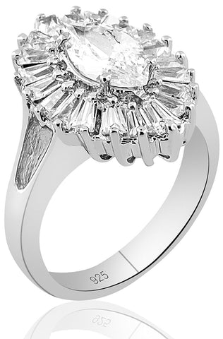 Mother's Day Gift Women's Sterling Silver .925 Ring with Clear Marquise Center Surrounded by 21 Tapered Baguette Cubic Zirconia (CZ) stones, Pltinum Plated, Appears indentical to platinum or gold