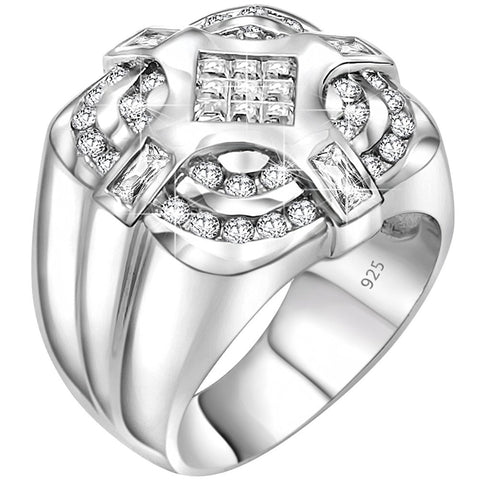 Men's Sterling Silver .925 Ring with Invisible Set Center Cubic Zirconia (CZ) Stone Surrounded by 36 CZ Stones, Platinum Plated