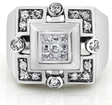 Men's Sterling Silver .925 Designer CZ Square Ring Featuring a Princess-Cut Invisible Look Center Stone Surrounded by 16 Round Stones
