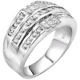 Men's Sterling Silver .925 Ring Band Featuring 32 Baguette and Square Cubic Zirconia (CZ) Stones, Platinum Plated. By Sterling Manufacturers
