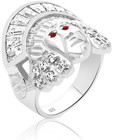 Men's Sterling Silver .925 Indian Chief Head Ring with Cubic Zirconia (CZ) Stones, Platinum Plated. By Sterling Manufacturers