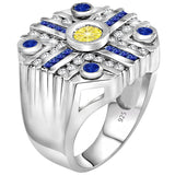Men's Sterling Silver .925 Octagonal Ring Featuring 49 Round and Baguette White, Blue, and Canary Cubic Zirconia CZ Stones, Platinum Plated. By Sterling Manufacturers