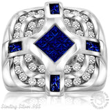 Men's Sterling Silver .925 Designer Ring with Invisible Set Center Dark Blue Cubic Zirconia (CZ) Stone Surrounded by 36 CZ Stones, Platinum Plated.