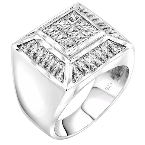 Men's Sterling Silver .925 Designer Square Ring with Fancy Cubic Zirconia (CZ) Invisible and Channel Set Stones, Platinum Plated.