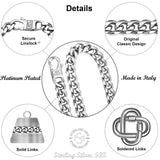 Cuban Link Chain - Platinium Plated 8.6 MM Solid .925 Sterling Silver Miami Cuban Twisted Link Chain For Men - Chain With Secure LinxLock Classic Design Made in Italy by Sterling Manufacturers