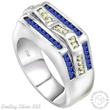 Men's Sterling Silver .925 Ring with 56 Channel Set Baguette Azure Blue and Light Canary Cubic Zirconia (CZ) Stones, Platinum Plated. By Sterling Manufacturers