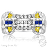 Men's Sterling Silver .925 Watch Band Style Ring With 24 White, Blue and Yellow Cubic Zirconia (CZ) Stones, Platinum Plated. By Sterling Manufacturers