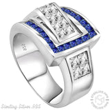 Men's Sterling Silver .925 Ring Featuring 27 Blue Channel Set and White Invisible Set Cubic Zirconia (CZ) Stones, Platinum Plated. By Sterling Manufacturers