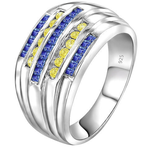 Men's Sterling Silver .925 Ring Band with 5 rows of Yellow and Blue Cubic Zirconia (CZ) Stones, Platinum Plated. By Sterling Manufacturers