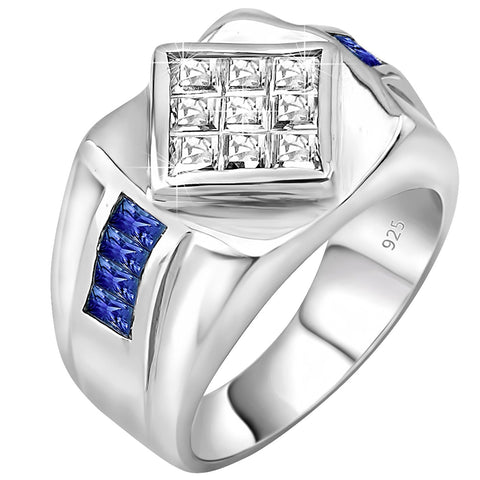 Men's Sterling Silver .925 Ring with Invisible Set Diamond Shaped Center Cubic Zirconia Stone and Blue Channel Set Cubic Zirconia Stones, Platinum Plated.