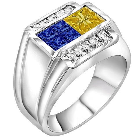 Men's Sterling Silver .925 Ring Featuring Invisible and Channel Set Blue and Yellow Cubic Zirconia Stones, Platinum Plated