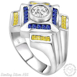 Men's Sterling Silver .925 Designer Ring Featuring a 1.75 Carat White Cubic Zirconia (CZ) Center Stone Surrounded by 36 Azure Blue and Light Canary Baguette (CZ) Stones, Platinum Plated.