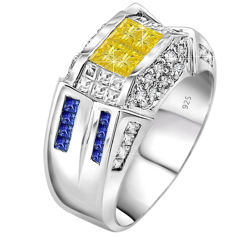 Men's Sterling Silver .925 Designer Ring Featuring 52 Yellow, Blue and White Cubic Zirconia (CZ) Stones, Platinum Plated. By Sterling Manufacturers