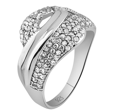 Mother's Day Gift Fancy Women's Sterling Silver .925 Designer Ring Featuring 156 Round Tiny Cubic Zirconia (CZ) Stones, Platinum Plated