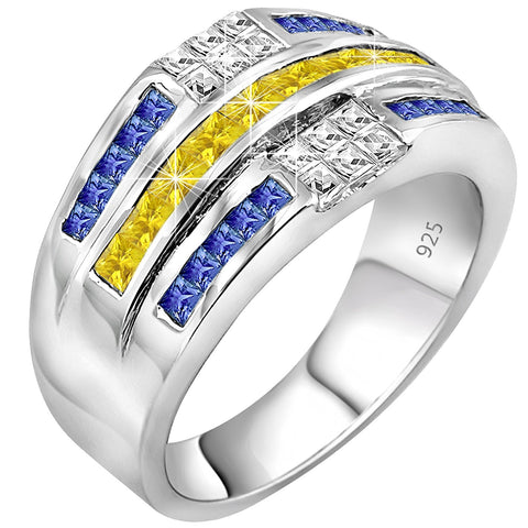 Men's Sterling Silver .925 Ring Featuring 32 Yellow, White, and Blue Baguette and Square Cubic Zirconia (CZ) Stones, Platinum Plated. By Sterling Manufacturers