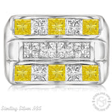 Men's Sterling Silver .925 Triple Row Ring Featuring Invisible Channel Set White and Canary Yellow Cubic Zirconia (CZ) Stones, Platinum Plated.