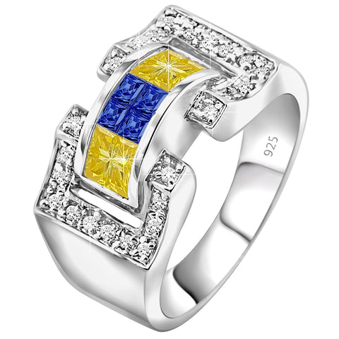 Men's Sterling Silver .925 Ring Featuring 27 Yellow Blue and Clear Invisible and Prong Set Cubic Zirconia (CZ) Stones, Platinum Plated. By Sterling Manufacturers