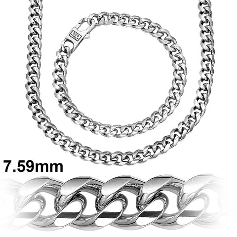 Sterling Silver Cuban Link Chain or .925 Sterling Silver Bracelet For Men | Platinum Plated Hand Made Miami Cuban Link Chain | Men's Fashion Bracelet | Designer Wrist Bracelets | Made In Italy