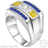 Men's Sterling Silver .925 Designer Ring Featuring White, Canary Yellow, and Azure Blue Invisible and Channel Set Cubic Zirconia (CZ) Stones, Platinum Plated. By Sterling Manufacturers