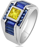 Men's Sterling Silver .925 Designer Ring with Canary Yellow Invisible Set Center Cubic Zirconia (CZ) Stone Surrounded by Azure Blue (CZ) Stones, Platinum Plated