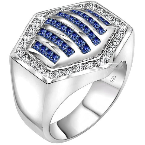Men's Sterling Silver .925 Hexagonal Ring Featuring 64 White and Azure Blue Round and Baguette Cubic Zirconia (CZ) Stones, Platinum Plated. By Sterling Manufacturers
