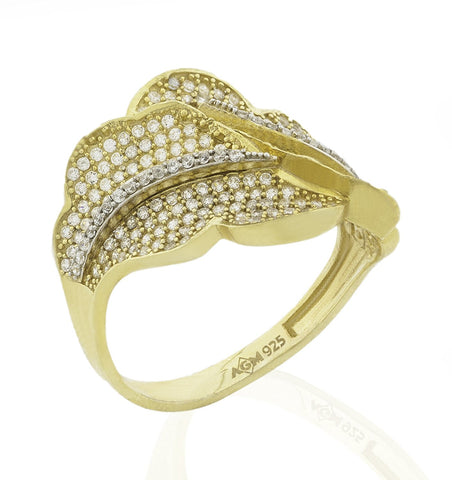 Mother's Day Gift Women's Gold Plated Sterling Silver .925 with Round Pave' set Cubic Zirconia (CZ) stones, High Polish, Appears indentical to Yellow gold