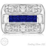 Men's Sterling Silver .925 Triple Row Ring Featuring White and Blue Invisible Channel Set Cubic Zirconia (CZ) Stones, Platinum Plated. By Sterling Manufacturers
