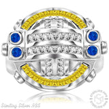 Men's Sterling Silver .925 Round Designer Ring Featuring 64 Fancy Canary, Blue, and Clear Cubic Zirconia (CZ) Stones , Platinum Plated. By Sterling Manufacturers