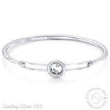 Mother's Day Gift Women's Sterling Silver .925 Original Design Solid Sterling Silver Bangle Bracelet with Floating Cubic Zirconia stones in Transparent Round Case, High Polish Rhodium Plated, 7 Inches