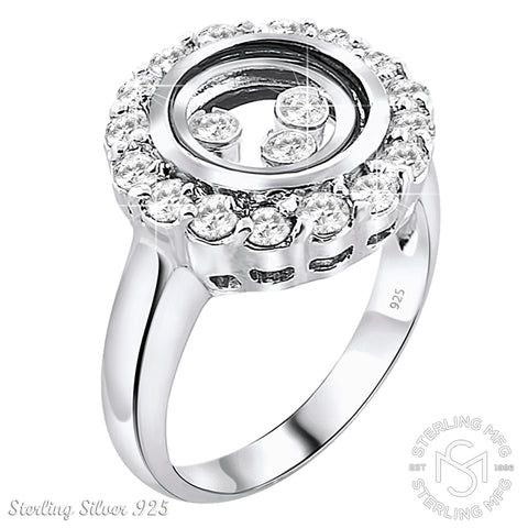 Mother's Day Gift Women's Sterling Silver .925 Floating Crystals Happy Diamond Transparent Ring Featuring Round Cubic Zirconia (CZ) Stones Encased in Glass, Platinum Plated