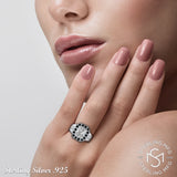 Mother's Day Gift Women's Sterling Silver .925 Simulated Black and White Diamond Designer Ring, Platinum Plated