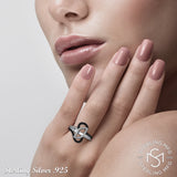 Mother's Day Gift Women's Fancy Sterling Silver .925 Abstract Design Ring Featuring 68 Simulated Black and White Diamond Stones, Platinum Plated