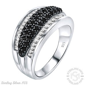 Mother's Day Gift Women's Elegant Sterling Silver .925 Designer Ring Featuring 65 Sparkling Black and White Simulated Diamond Stones, Platinum Plated