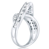 Fancy Women's Sterling Silver .925 Designer Ring Featuring Prong and Channel Set Cubic Zirconia (CZ) Stones, Platinum Plated