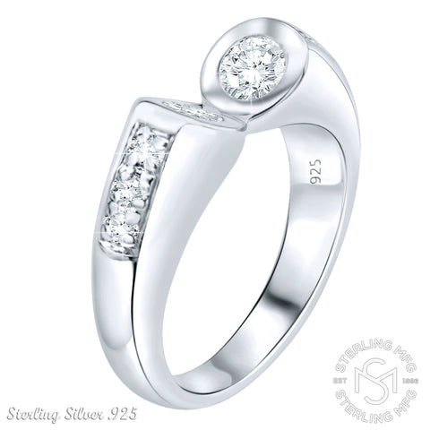 Mother's Day Gift Women's Sterling Silver .925 Split-Open Design Ring Featuring Round Cubic Zirconia (CZ) Stones, Platinum Plated