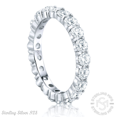 Sterling Silver Fancy CZ Womens Band 925 Ladies Ring Jewelry & Watches
