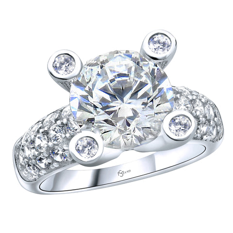 Women's .925 Sterling Silver Cubic Zirconia (CZ) 3.8ct Bridal Engagement Wedding Ring. Platinum Plated, Identical to Platinum/White Gold with Diamond