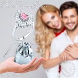 Mother's Day Gift Women's Sterling Silver .925 Ring with Pink Pear shaped Center Stone, Surrounded by 21 Tapered Baguette Cubic Zirconia (CZ) stones, High Polish.